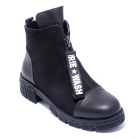 Ботинки женские Welfare 0618-7054 KRK 01.82 BLACK LEATHER BLACK NUBUCK