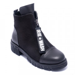 Черевики жіночі Welfare 0618-7054 KRK 01.82 BLACK LEATHER BLACK NUBUCK