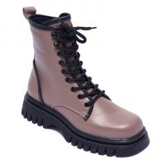 Ботинки женские Welfare 0737-2473D 633.35 DARK MINK BLACK LTHR